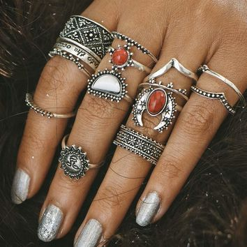 New Fashion boho Retro silver color Jewelry Bohemian Red Color Boho Stone Sun 14pcs / sets Sentence Rings for women
