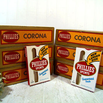 Cigar Boxes Set of 6 Free Shipping Phillies Corona Cigar Boxes with Gold & Red Paper Lidded Boxes for Display Projects Storage Organization