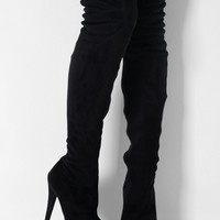Tallahassee Black Suede Thigh High Platform Boots | Pink Boutique