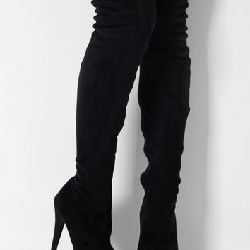155f0061b0d5 Tallahassee Black Suede Thigh High from Pink Boutique