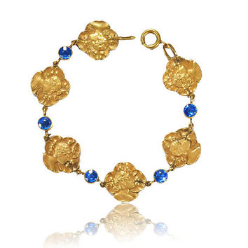 Vintage Art Nouveau Bracelet Gold Pansy Mucha Lady Maiden Blue Sapphire Glass Bracelet Antique 1910s Antique Jewelry