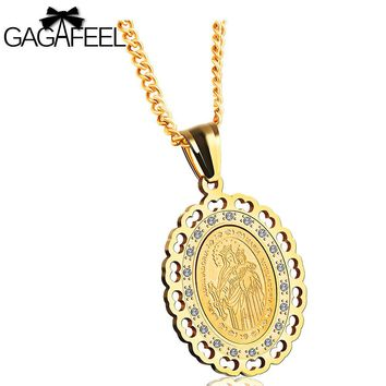 GAGAFEEL Christian Pendant & Necklace Men Women Jewelry Virgin Mary Of Christ Pendants Stainless Steel Clear Zircon Link Chain