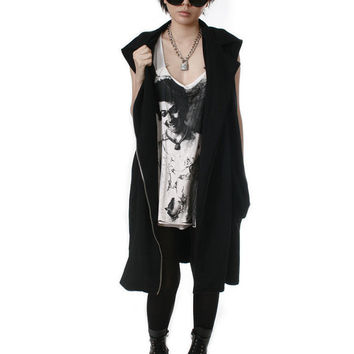 RTBU Vegan Punk Rock Sweatshirt Belted Motorcycle Biker Jacket Dress Trench Coat