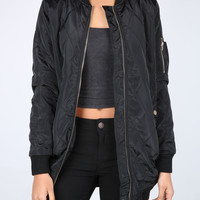 The Emmy Quilted Bomber Jacket in Black