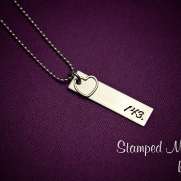 143 Loved - Hand Stamped Necklace - Stainless Steel Tag with Sterling Silver Heart Charm - Can be personalized by request - Love Jewelry