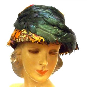 Vintage Pheasant Feather Hat Bucket Hat 1950s Green Iridescents Bernallen