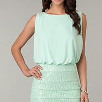 Short Sleeveless Lake Embellished Dress
