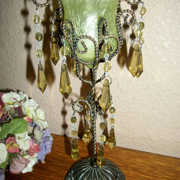 Votive Candle Holder Metal Pedestal Acrylic Prism Beaded Chandelier Tassels Green Glass Tulip Bowl Vintage Art Deco Burlesque Boudoir Decor