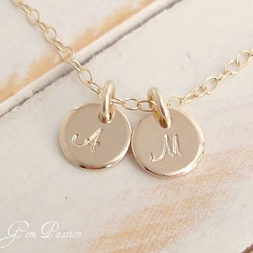 Personalized Gold Initial Necklace 14k Gold Filled Tiny Dots, NEW Script Font, 2 Disc Necklace Handmade Hand Stamped