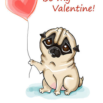 "Pug. Printable greeting card, Instant Download 5 x 7"" JPG file, Be my Valentine. Funny sketch drawing."