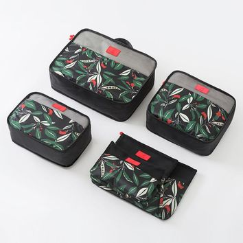 6 Piece Black Tropics Packing Cube Set