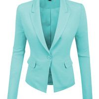 LE3NO Womens Tailored Single Button Boyfriend Cropped Blazer Jacket