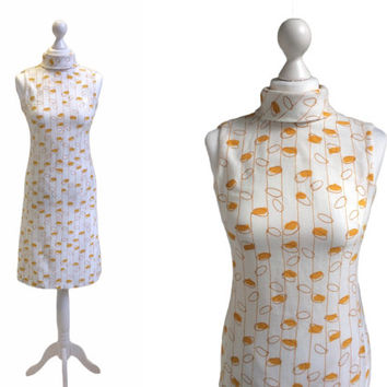 1960's Vintage Dress - 60's Dress - White And Mustard Yellow Loops Dress