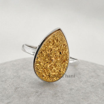 Gold Druzy Ring - Sterling Silver Ring -  Gemstone Ring - Pear 10x16mm ring- Bezel Jewelry - #2898