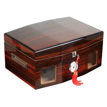 Luxury Gift for Christmas Red Cigar Humidor Cabinet Storage Box COHIBA cedar wood humidor hygrometer humidifier HH-118