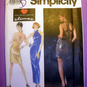Women's Halter Dress Misses' Size 12, 14, 16 Simplicity 7612 Sewing Pattern Uncut