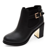 Black Metal Block Heel Ankle Boots