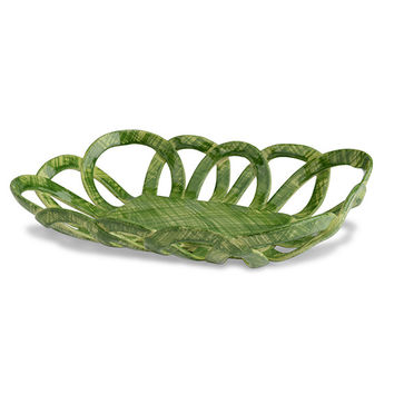 Intrecci Green Rectangular Basket