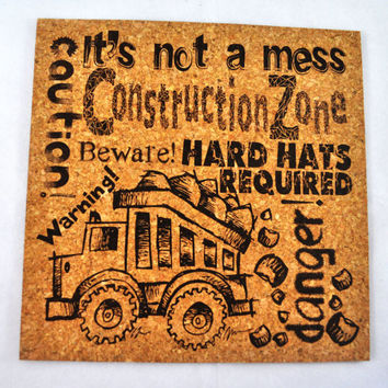 Construction Zone Quirky Corkies Cork board, wall decor, for Home, Office, Dorm, Bedroom, Kids Room wall art