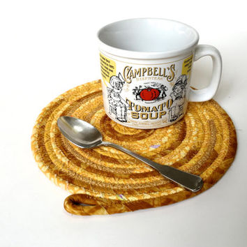 Clothesline Coiled Rope Trivet - Mouse Pad -Gold Snack Mat - Handmade Fabric Placemat - Large Mug Rug - Homemade Candle Mat - OOAK Fiber Art