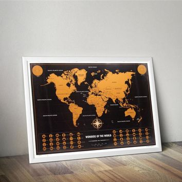 World Map Deluxe Scratch off World Map-Travel Around The World- English poster Version-Foreign Hot Wall Map paper Home Decor