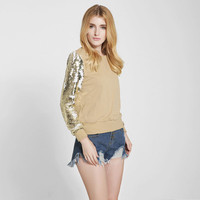 Fashion Sequins Sleeve Stitching Loose Scoop Hoodie