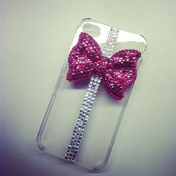 iPhone 4 and iPhone 4S Art Deco Hot Pink Crystal Bling Bow and Ribbon 3D case