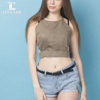 Lucy Lizz Design Summer Fashion Women elastic cotton Tie back Camis Tied Strap Crop Tops backless sport tank tops cross camisole