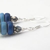 Wood Earrings, Sterling Silver Earrings, Blue Ombre Earrings, Bright Earrings