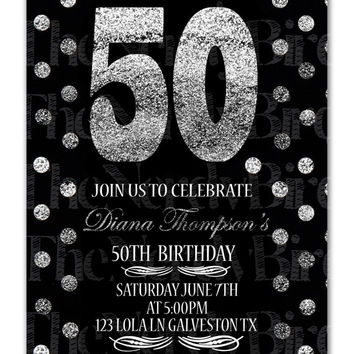 Black Silver Glittler Polka Dots Design Printable 50th Birthday Invitation