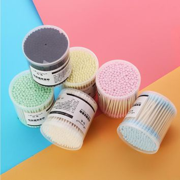 200PCS Household Disinfect Paper Stick Double Head Makeup Cleanser Cotton Swabs Picking Ears Bud Absorbent Q-tip For cleaning