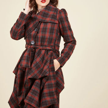 Tier for the Party Coat in Crimson Plaid | Mod Retro Vintage Coats | ModCloth.com