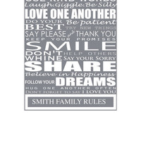Family Rules, Personalized Canvas word art 18x24, Canvas Family Rules,