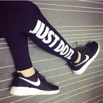 Women Leggings Letter Print Yoga Pants Skinny Jogger Tights