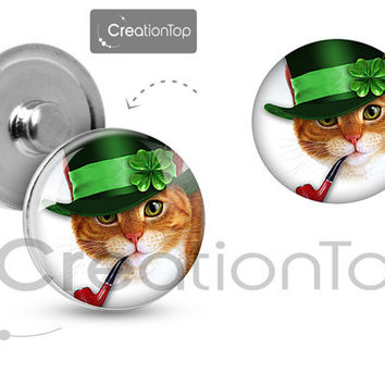 Charm button for any Snap bracelet Memory noosa St. Patrick's Day cat in hat