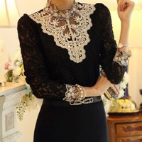 Rhinestones Long Sleeve Stand-Up Collar Lace T-Shirt