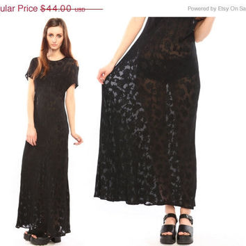 black maxi dress // vintage 90s // semi sheer by shopCOLLECT