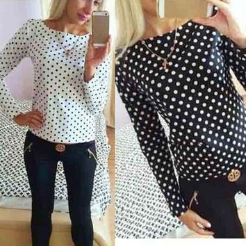 Vintage Polka Dot Women Chiffon Blouse Long Sleeve Shirt Women Camisas Femininas Blusa Feminina Ladies Tops