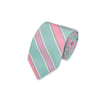 Maybank Stripe Necktie in Teal by High Cotton