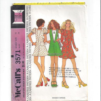 McCall's 3571 Pattern for Misses' Dress with V Front Inset, Size 16, From 1973, Vintage Pattern, Home Sewing Pattern, 1973 Fashion Sewing