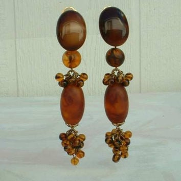 Brown Art Glass Shoulder Duster Clip Dangle Earrings Faux Saphiret Jewelry