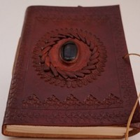 Handmade Leather Journal with Black Stone