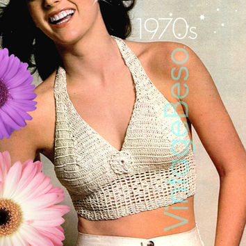 Ladies Top Crochet Summer Wear is a Ladies Vintage Pattern Party HALTER TOP also Lovely Wedding Dress - Pdf Pattern - INSTANT Download
