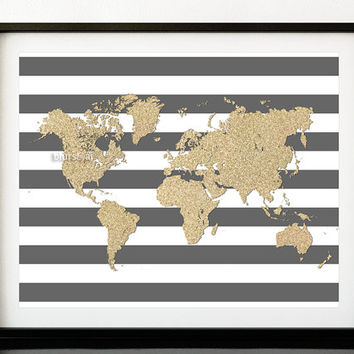 """Instant download 20x16"""" Printable world map, golden glitter map print, gold and stripes, gold printable poster, nursery wall art  pdf-map022"""