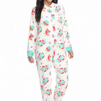 PJ Couture Ivory Owl Zip Front Footed One Piece Pajama - Belk.co