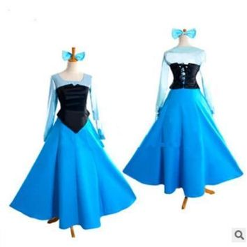 Free shipping The Little Mermaid Ariel Mermaid Princess Beauty Dress +bowknot Halloween Cosplay Costume