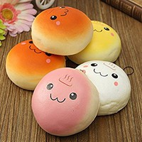 Giveme5 Pack of 2 Jumbo Smile Marshmallow Bread Bun Squeezed Expression Toys Cell Phone Charms Key Chains Bag Strap Pendants 10cm - (Color Random)