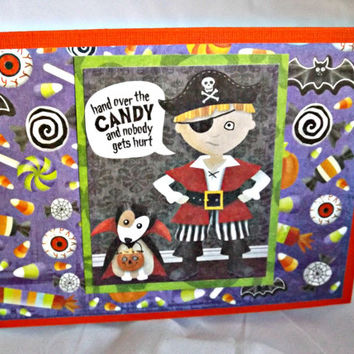 Halloween Card Trick or Treat Card Candy Card Halloween Card for Kids Hand Made Card Handmade Halloween Card Halloween