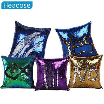Reversible Sequin Mermaid decorative pillowcase 2018 square Sequin Pillow Magical Color Changing Throw pillows sofa home decor