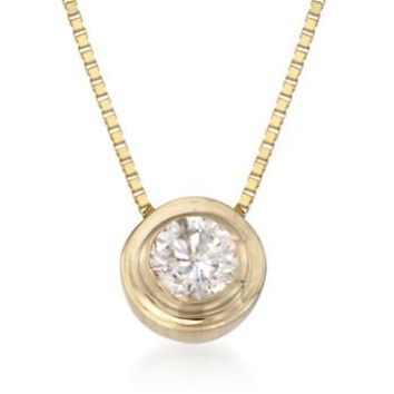 "Ross-Simons - .12 Carat Double Bezel-Set Diamond Solitaire Necklace in 14kt Yellow Gold. 18"" - #797734"